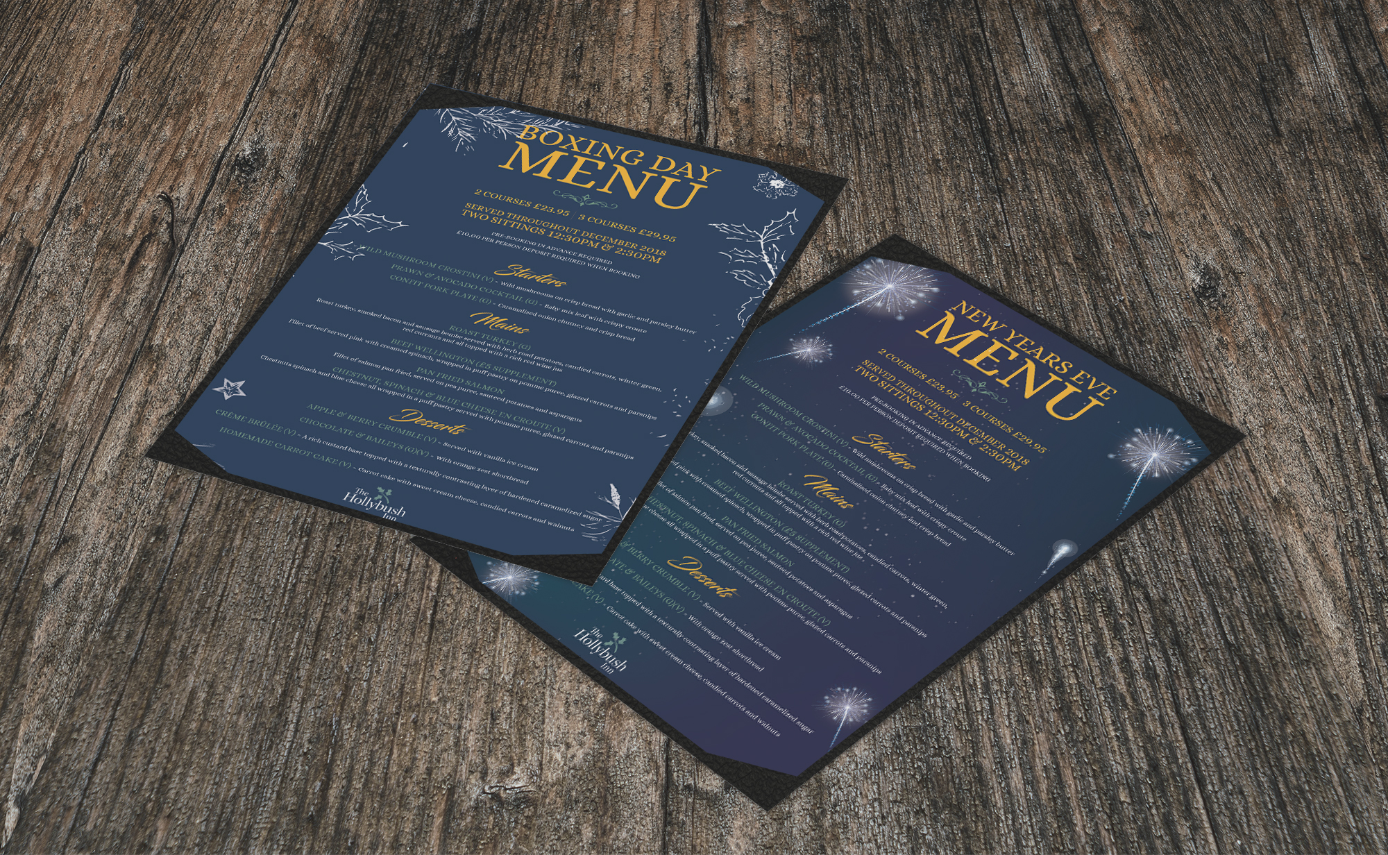 HollyBush Inn Christmas and New years menus projects