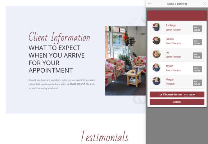 kspa website redesign bookings phorest API