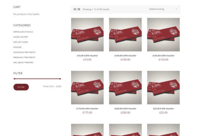 kspa website redesign shop vouchers page